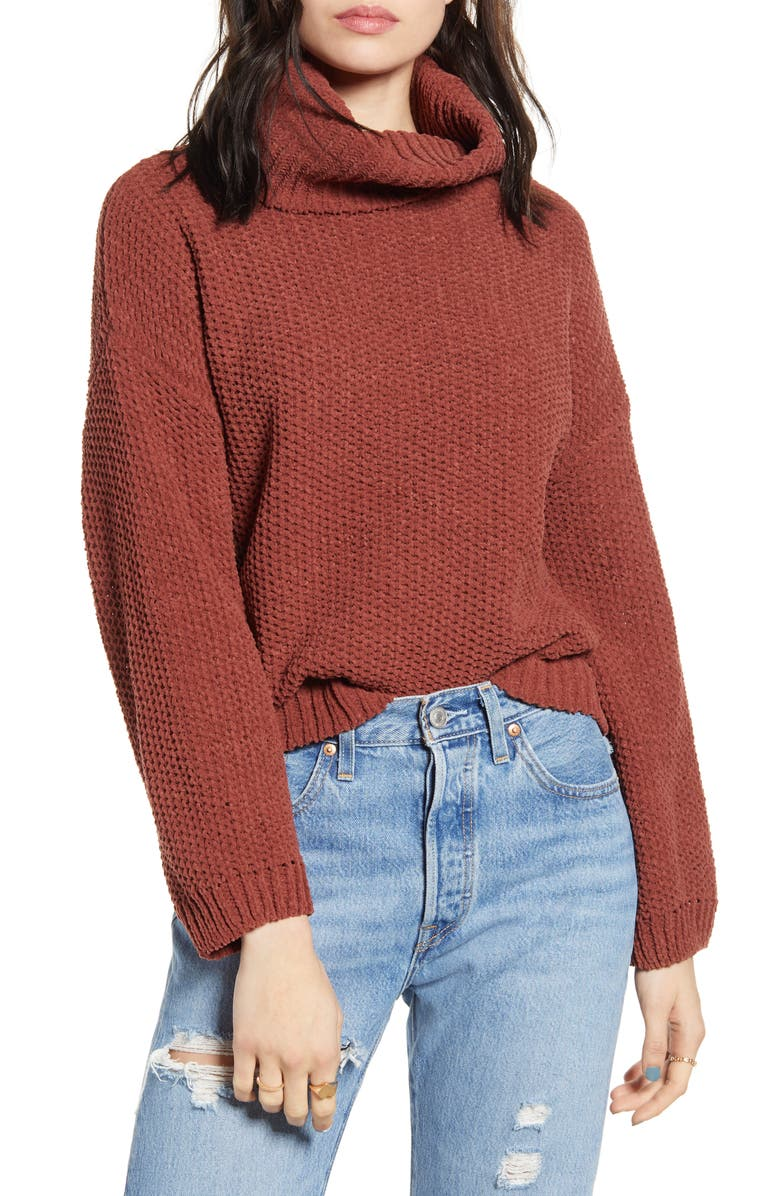 WOVEN HEART Chenille Turtleneck Sweater, Main, color, RUST