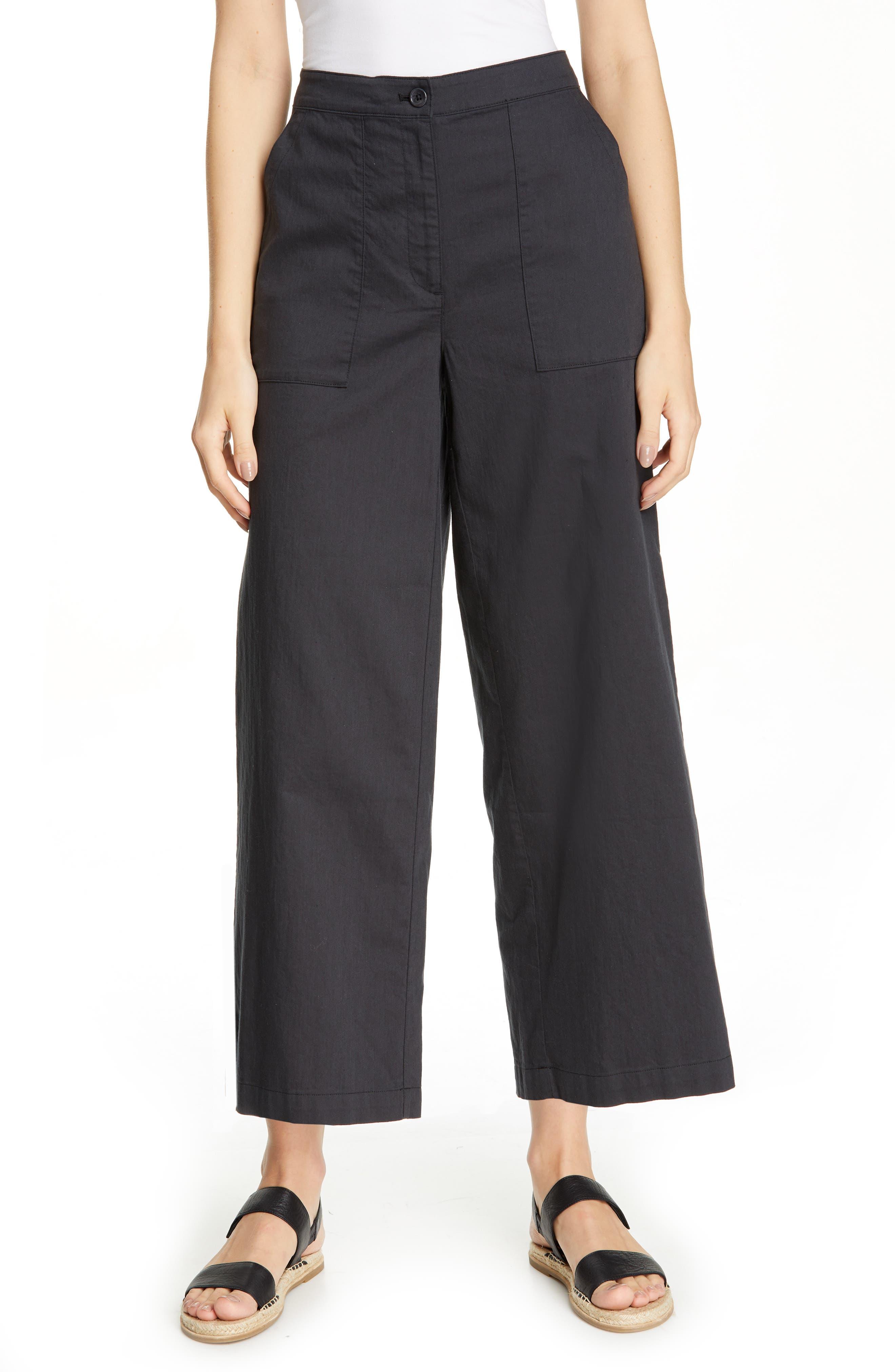 women's eileen fisher organic cotton wide leg pants