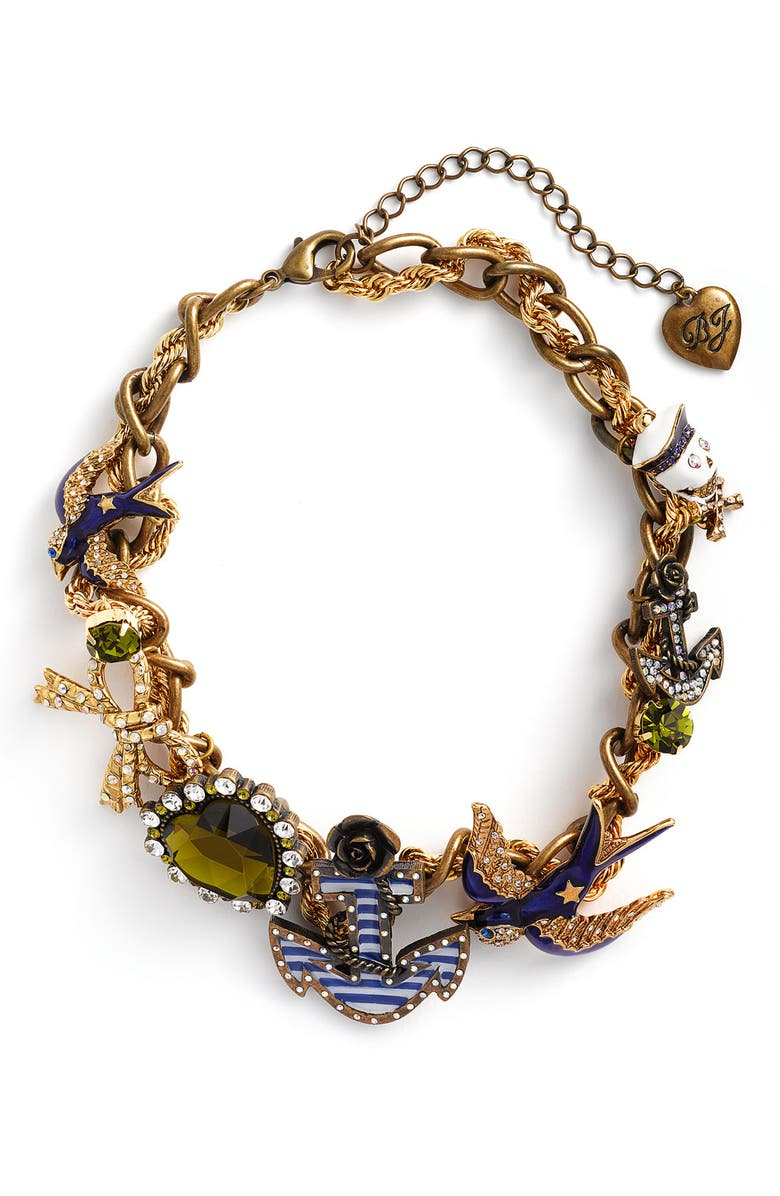 BETSEY JOHNSON 'In the Navy' Torsade Necklace, Main, color, 400