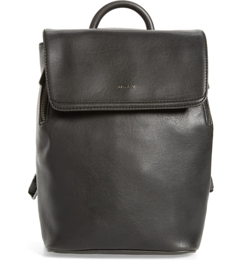 MATT & NAT Mini Fabi Faux Leather Backpack, Main, color, BLACK