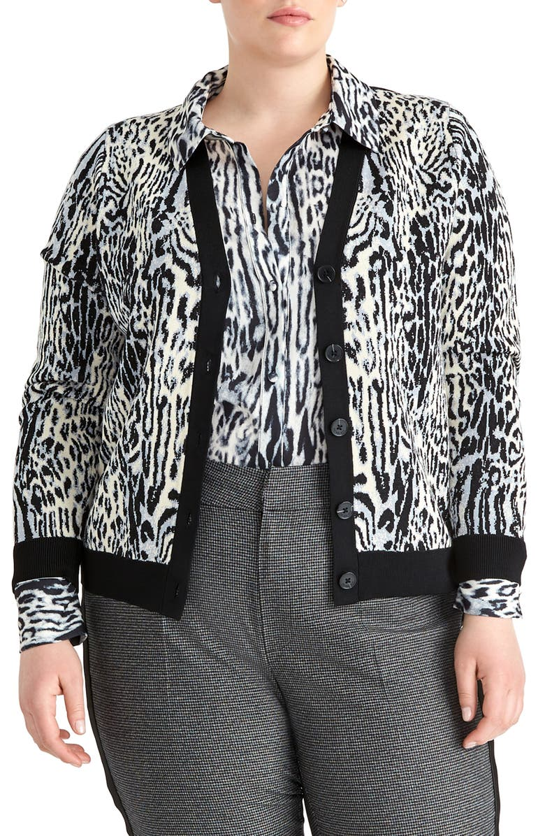 RACHEL ROY COLLECTION Animal Print Cardigan, Main, color, GREY COMBO