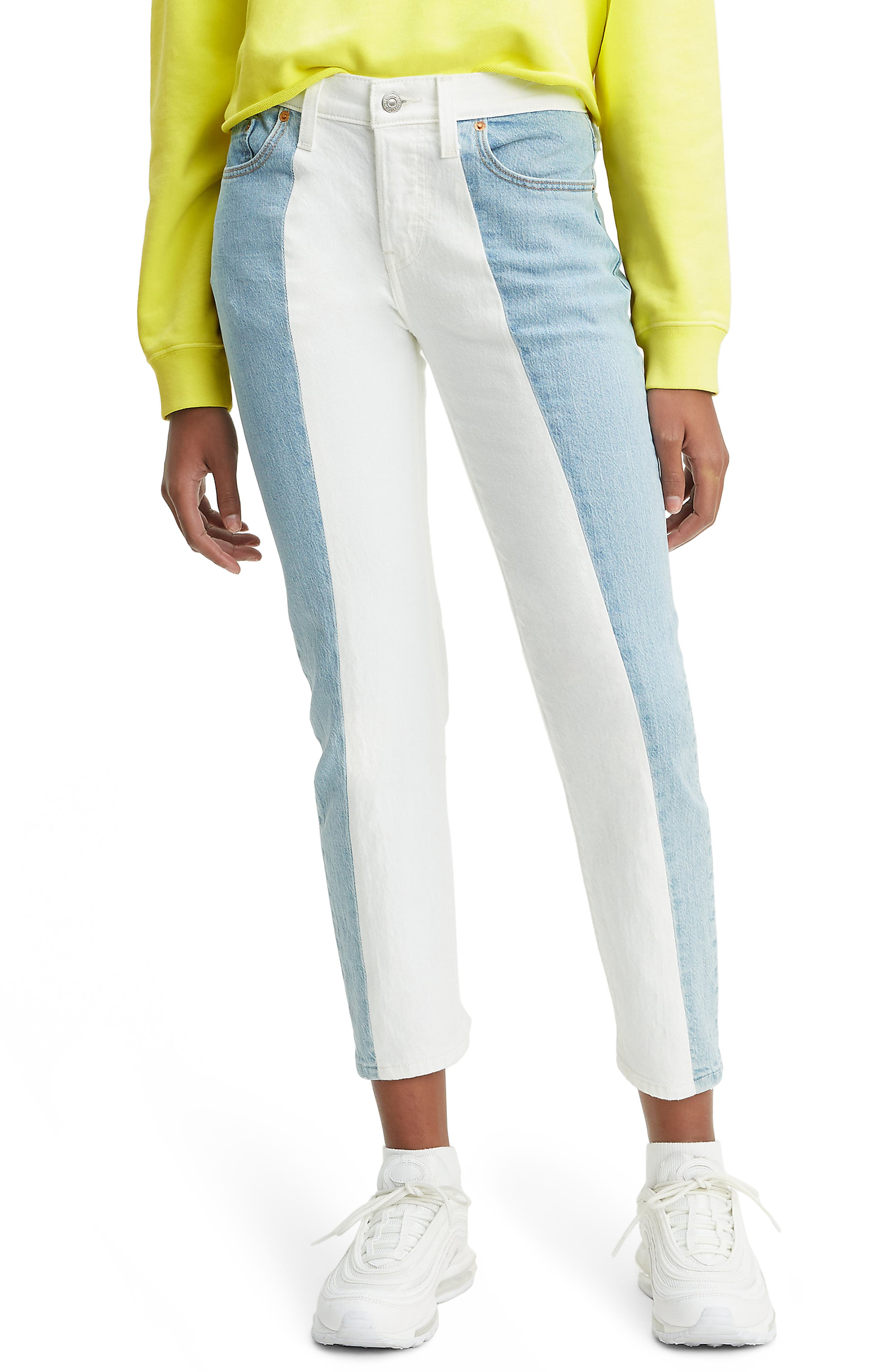 ,                             501<sup>®</sup> Colorblock High Waist Crop Jeans,                             Main thumbnail 1, color,                             SLICED AND DICED