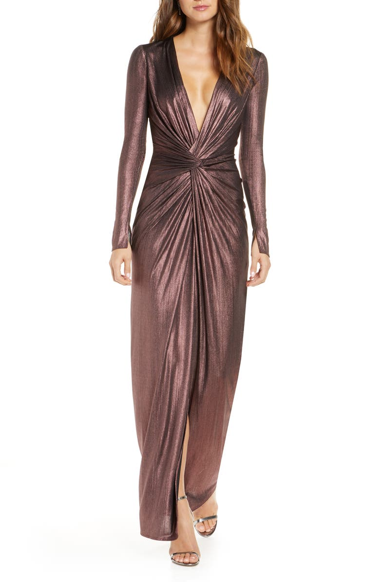 KATIE MAY In a Mood Plunging Long Sleeve Metallic Gown, Main, color, PLUM METALLIC