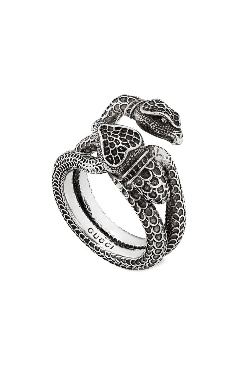 GUCCI Double Snake Ring, Main, color, STERLING SILVER