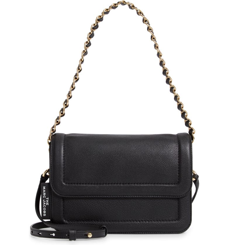 THE MARC JACOBS The Cushion Leather Shoulder Bag, Main, color, BLACK