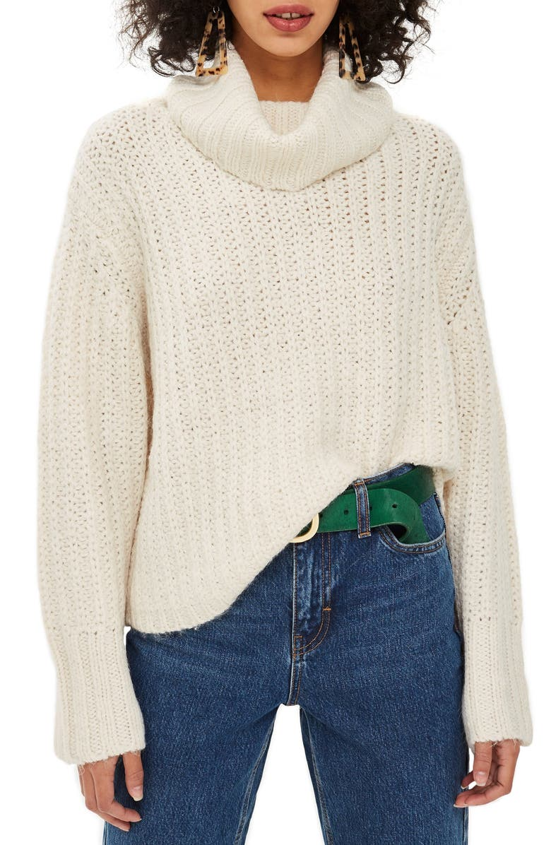 TOPSHOP Chunky Roll Sweater, Main, color, 900