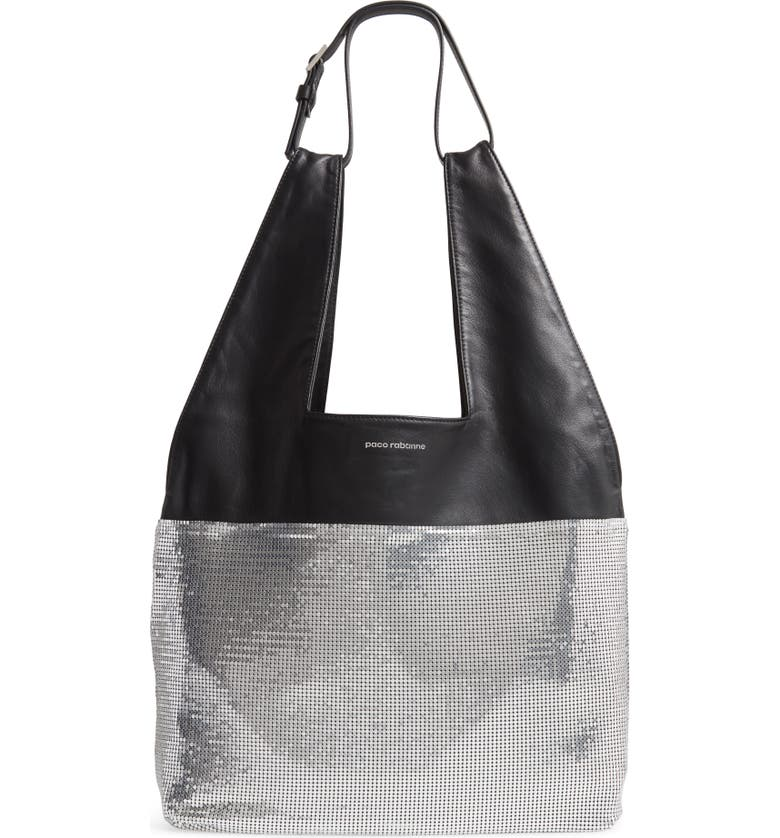 PACO RABANNE Metallic Mesh & Lambskin Leather Hobo, Main, color, SILVER/ BLACK