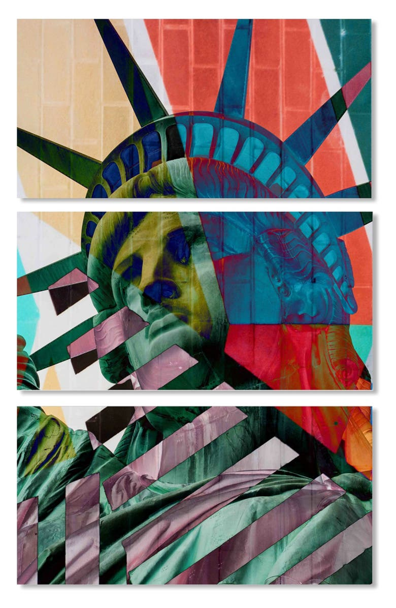 OLIVER GAL Statue of Liberty Canvas Triptych Wall Art, Main, color, BLUE