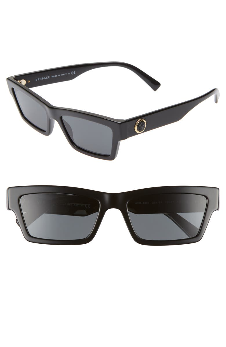 VERSACE 55mm The Clans Cat Eye Sunglasses, Main, color, 005