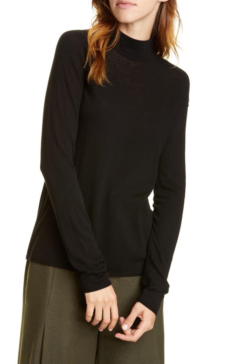 VINCE Seamless Wool Blend Mock Neck Top, Main, color, BLACK