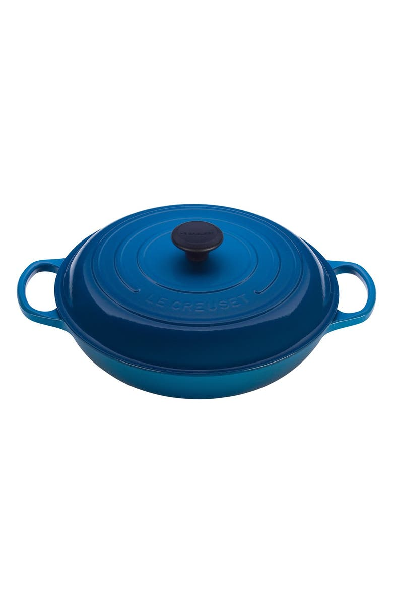 LE CREUSET Signature 3 3/4 Quart Enameled Cast Iron Braiser, Main, color, MARSEILLE