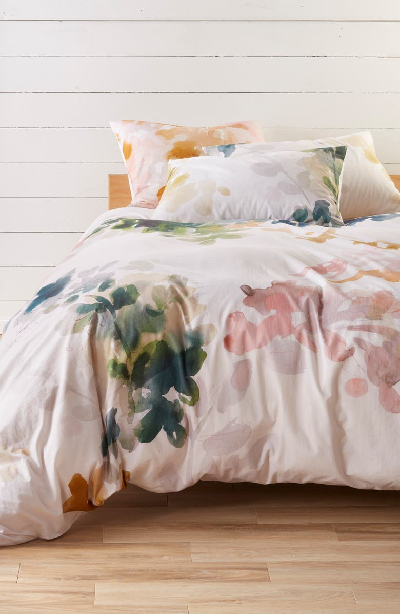 TREASURE & BOND Veiled Blooms Duvet Cover, Main, color, GREY OWL MULTI