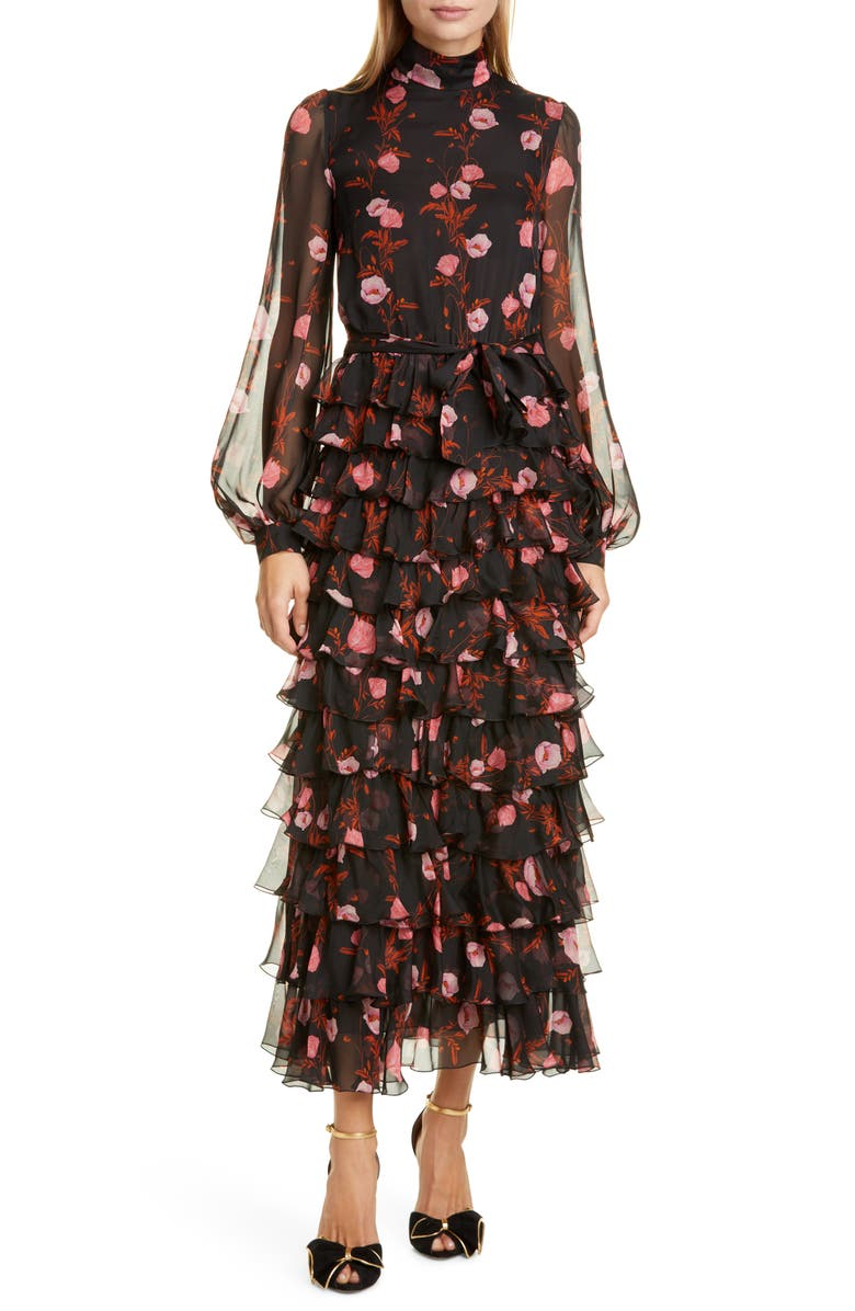 GIAMBATTISTA VALLI Floral Print Long Sleeve Silk Dress, Main, color, BLACK