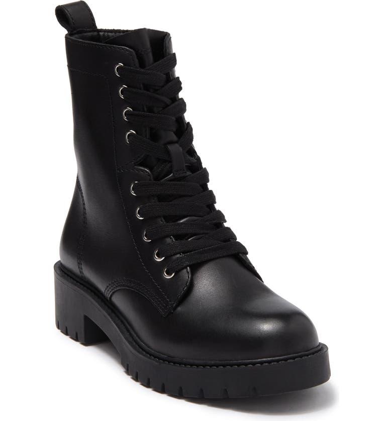 STEVE MADDEN Checker Combat Boot, Main, color, BLACK LEAT