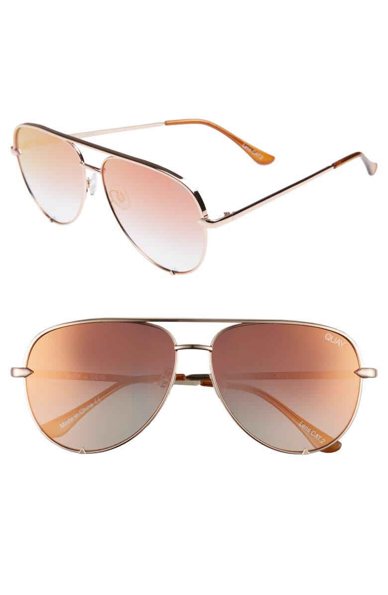 QUAY AUSTRALIA High Key 62mm Aviator Sunglasses, Main, color, ROSE/ COPPER FADE