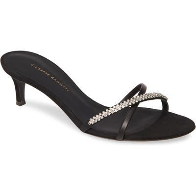 Giuseppe Zanotti Jewel Slide Sandal, Black