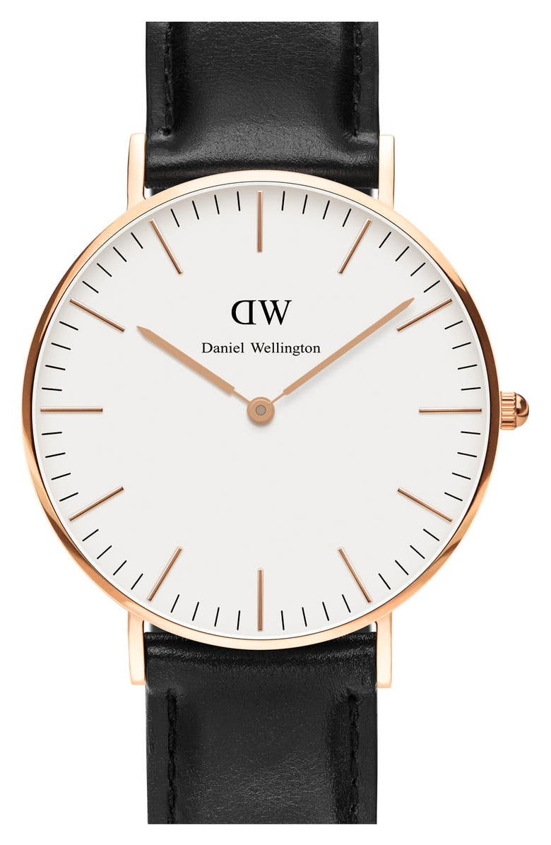 DANIEL WELLINGTON 'Classic Sheffield' Leather Strap Watch, 36mm, Main, color, 001