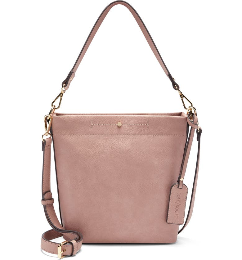 SOLE SOCIETY Beryl Faux Leather Bucket Bag, Main, color, PINK SAND