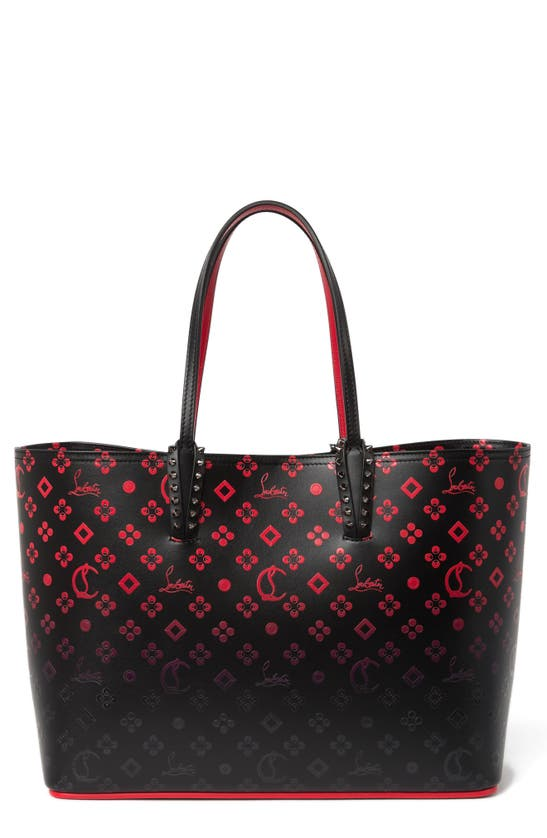 Christian Louboutin Women's Small Cabata Ombré Print Tote In Black-red/ Black