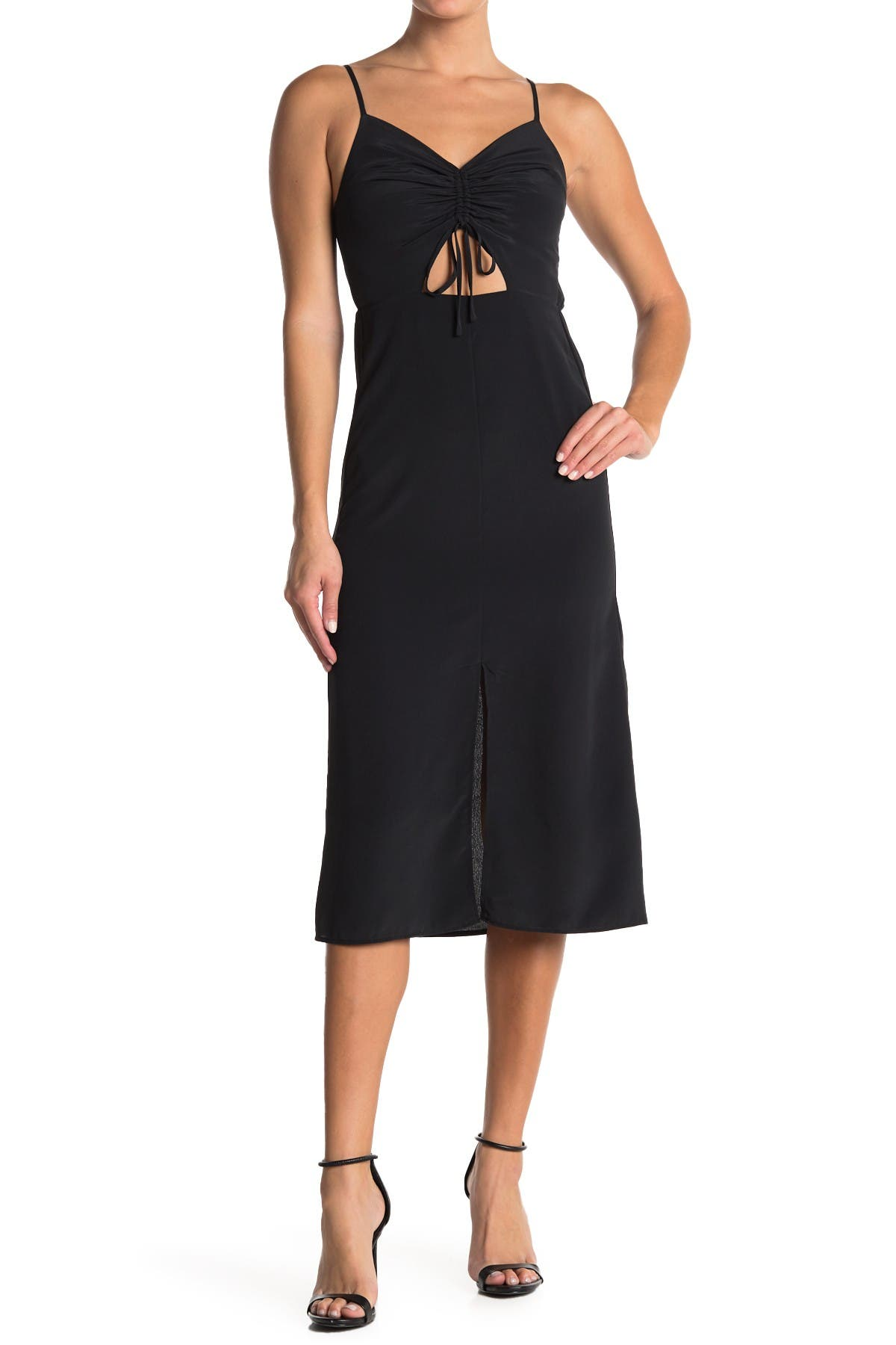 Image of TOPSHOP Molly Front Cutout Ruched Midi Dress