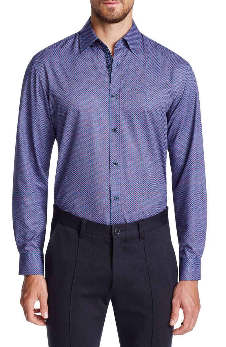 W.R.K Trim Fit Performance Stretch Check Dress Shirt, Main, color, NAVY/ BURG