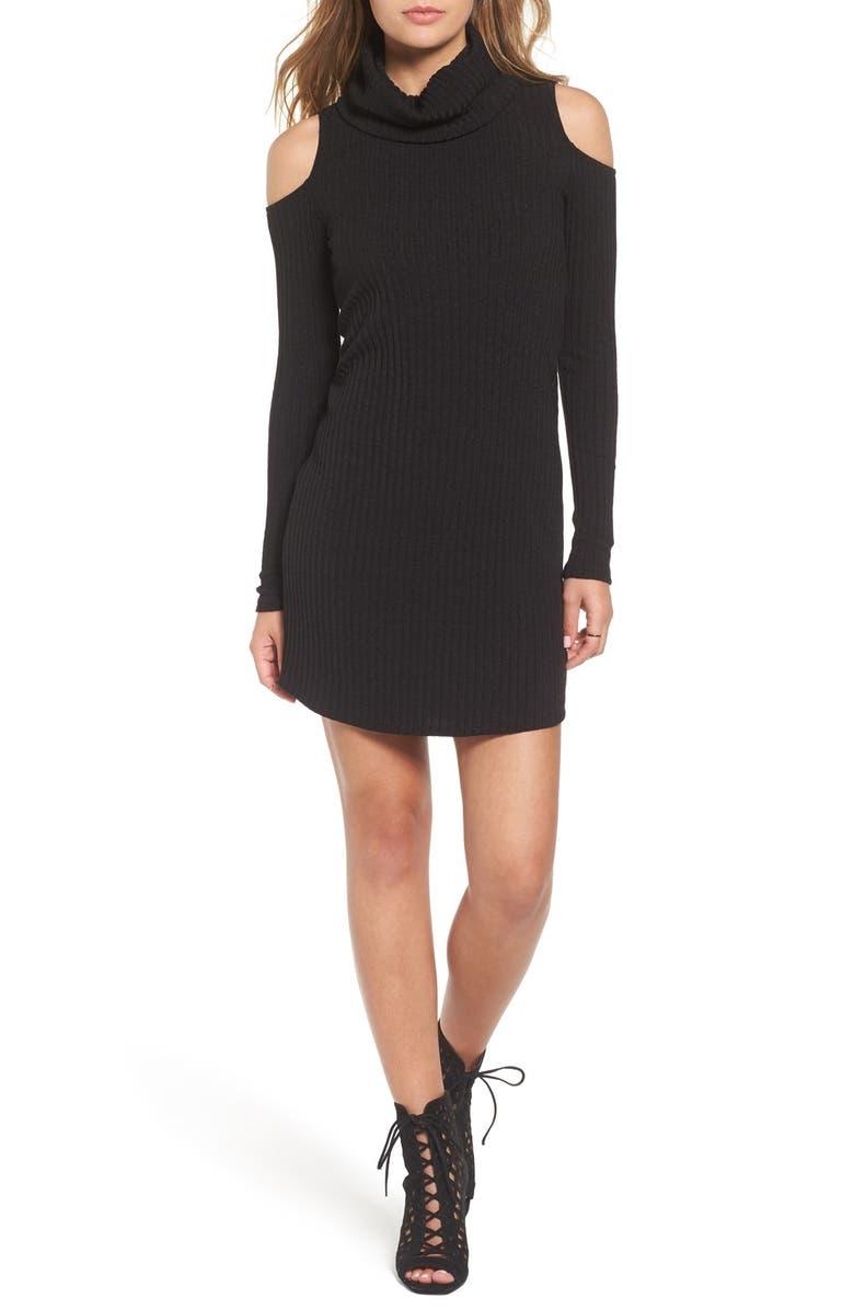 SOCIALITE Cold Shoulder Rib Knit Dress, Main, color, 001