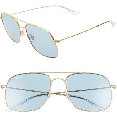 Ray-Ban 5m Square Sunglasses - Rubber Gold/ Green Solid