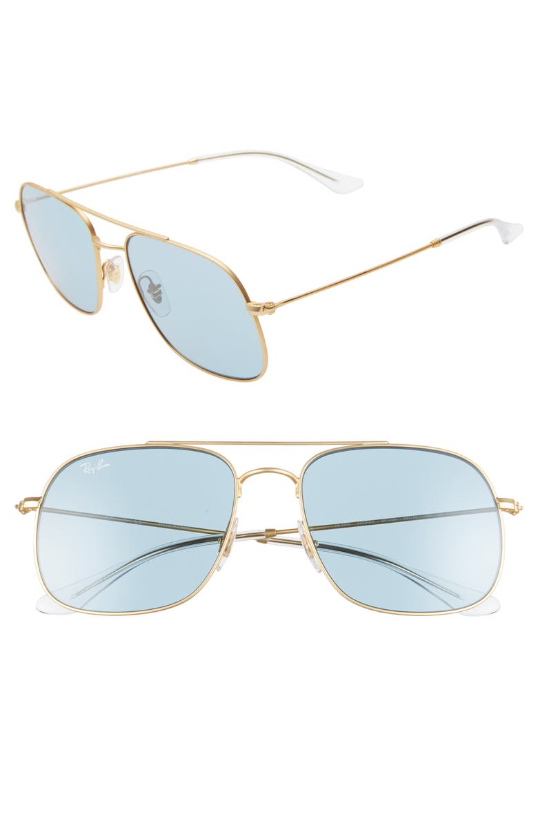 RAY-BAN 56mm Square Sunglasses, Main, color, RUBBER GOLD/ GREEN SOLID