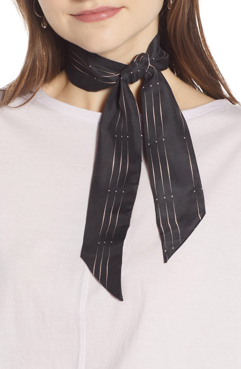 SOMETHING NAVY Silk Skinny Scarf, Main, color, BLACK GEO STRIPE PRINT
