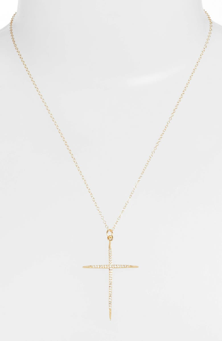 BRACHA Everlasting Cross Pendant Necklace, Main, color, GOLD