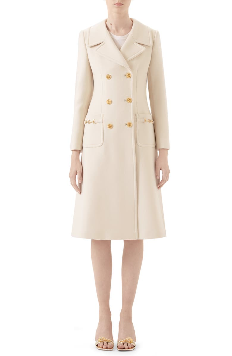 GUCCI Double Breasted Wool Coat, Main, color, GARDENIA
