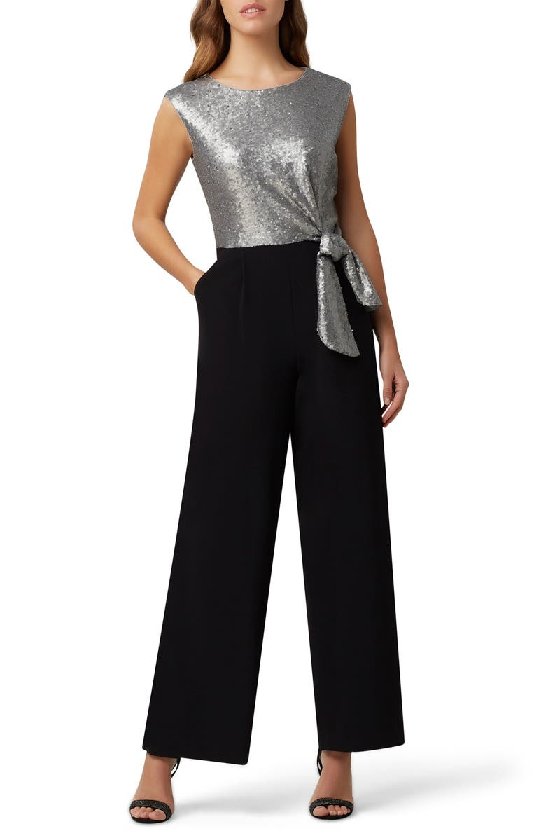 TAHARI Sequin Side Tie Jumpsuit, Main, color, 001