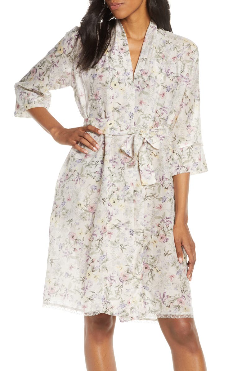 PAPINELLE Emmy Musk Cotton & Silk Short Robe, Main, color, 650