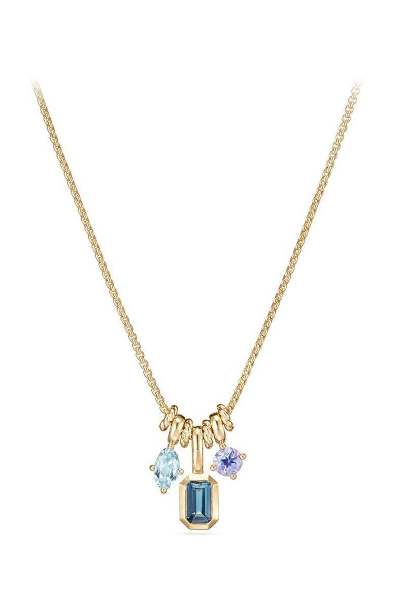 DAVID YURMAN Novella Pendant Necklace in 18K Gold, Main, color, GOLD/ BLUE TOPAZ/ AQUAMARINE