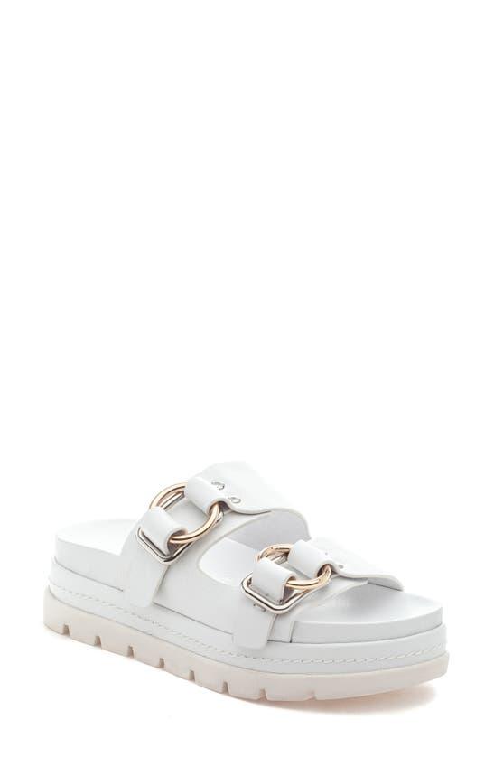 Jslides Baha Slide Sandal In White Leather