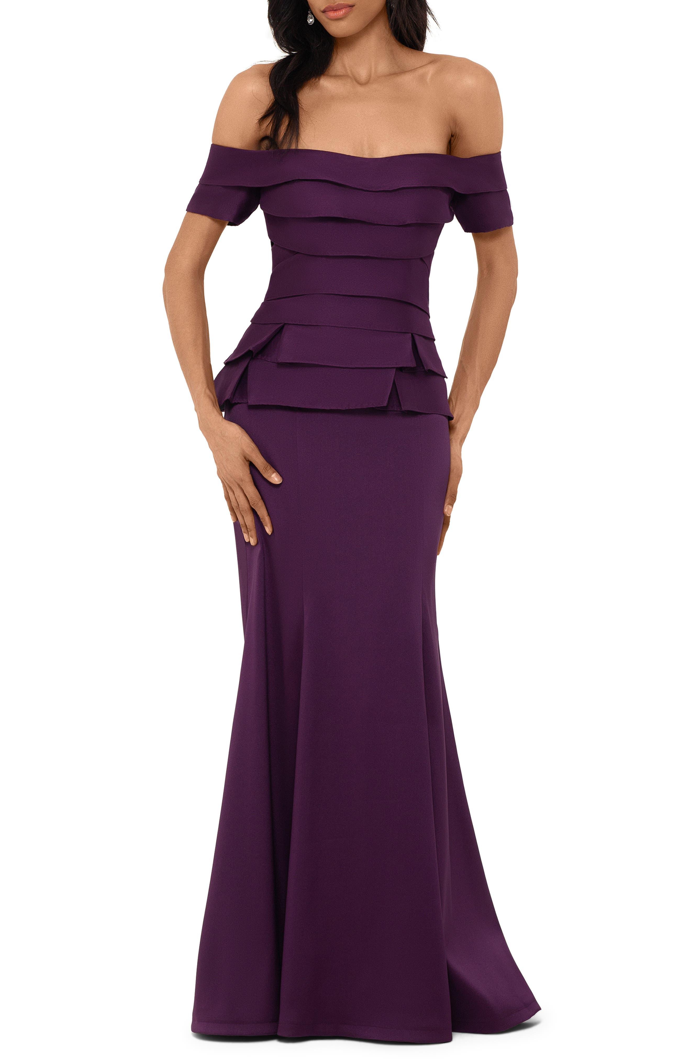 Xscape Off The Shoulder Mikado Evening Gown, Purple