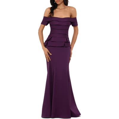 Xscape Off The Shoulder Mikado Evening Gown, Purple