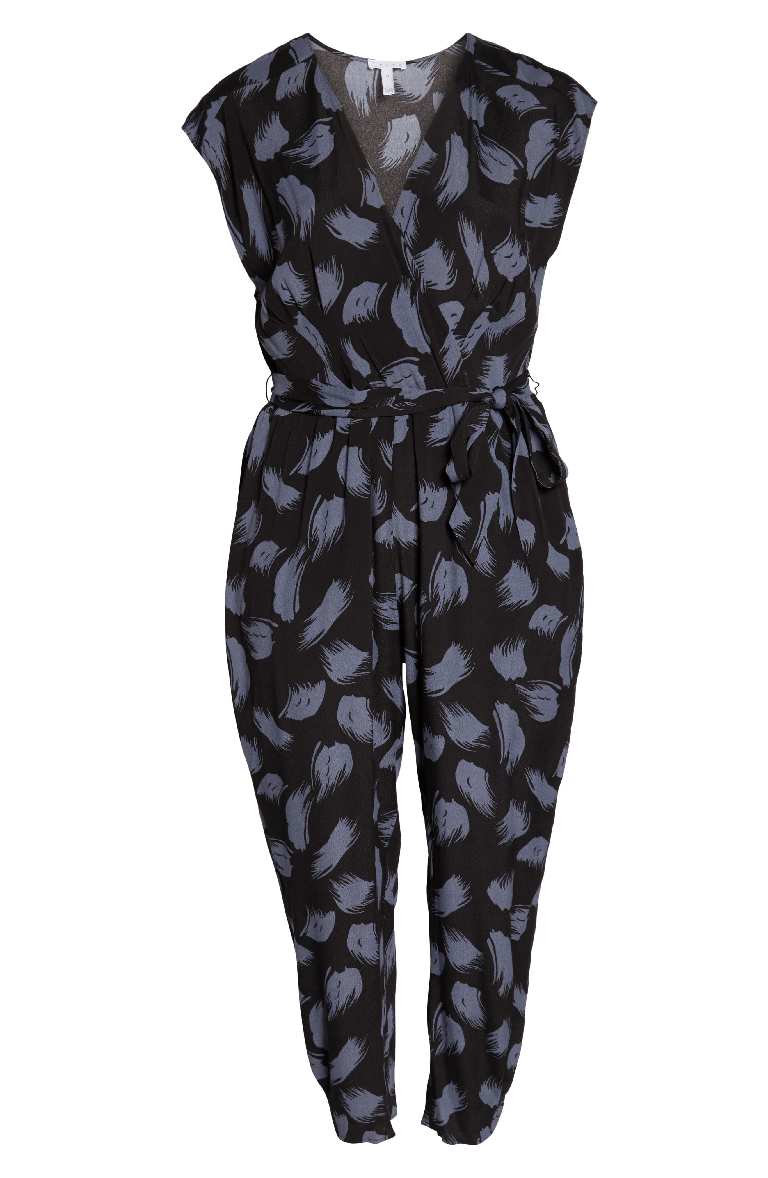 ,                             Tie Waist Print Jumpsuit,                             Alternate thumbnail 13, color,                             001