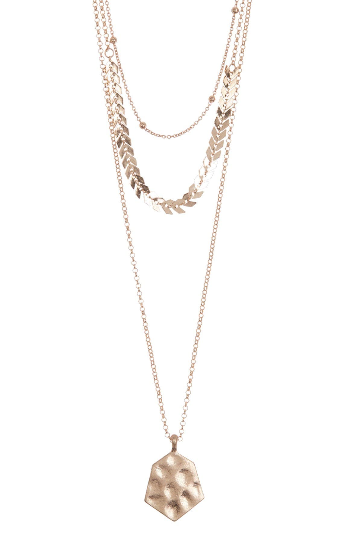 Image of AREA STARS Gold-Tone Link & Hammered Coin Triple Layered Necklace