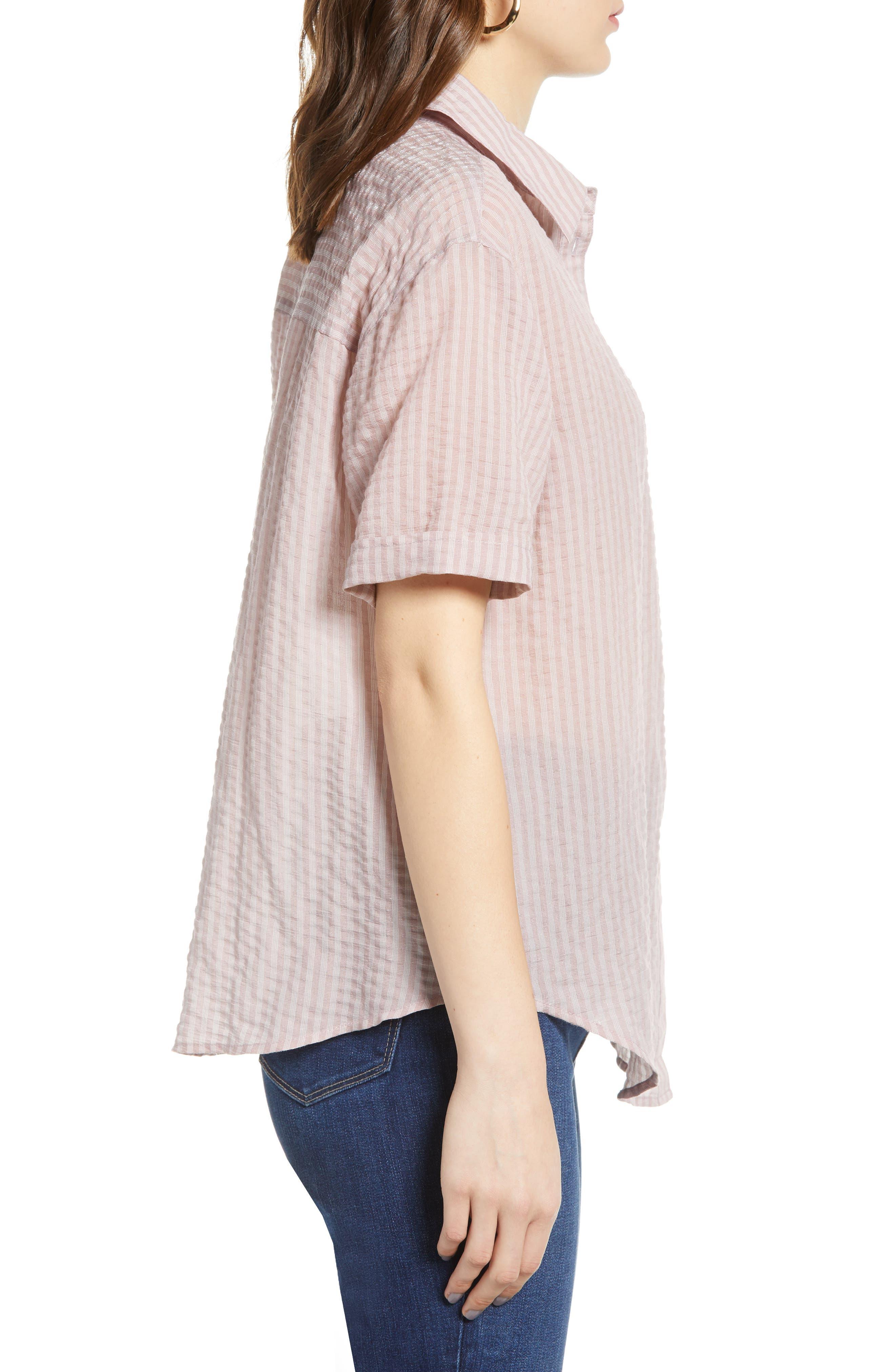 ,                             Stripe Short Sleeve Shirt,                             Alternate thumbnail 5, color,                             PINK CANYON CLOUD STRIPE