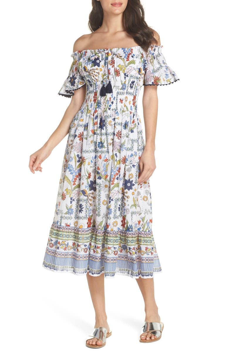TORY BURCH Meadow Folly Off the Shoulder Cover-Up Dress, Main, color, 900