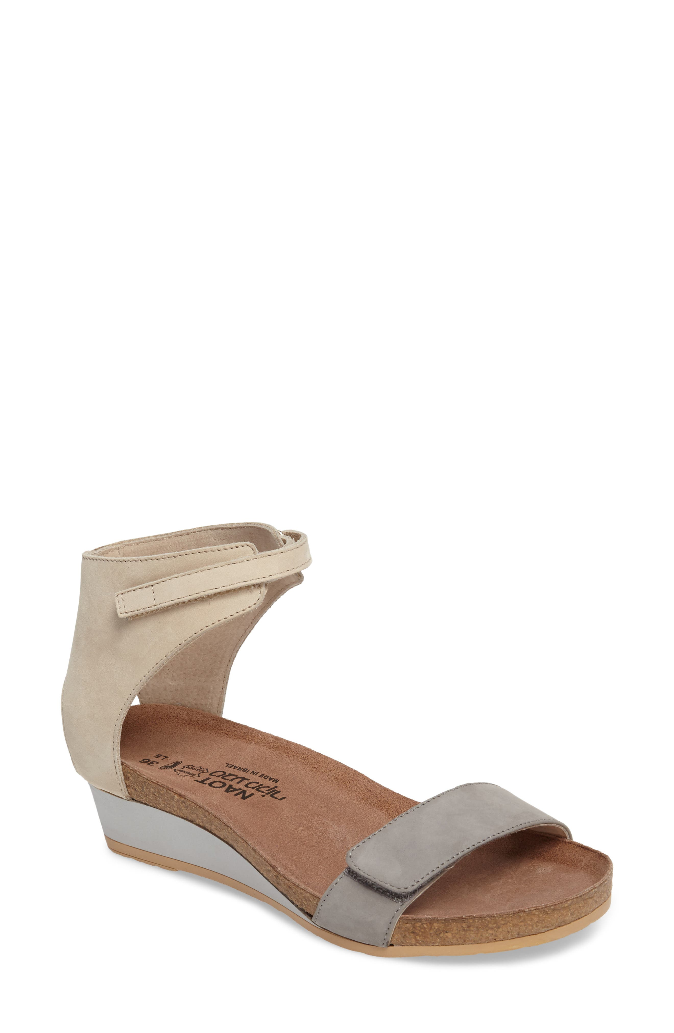Prophecy Sandal, Main, color, GREY/ SILVER NUBUCK LEATHER