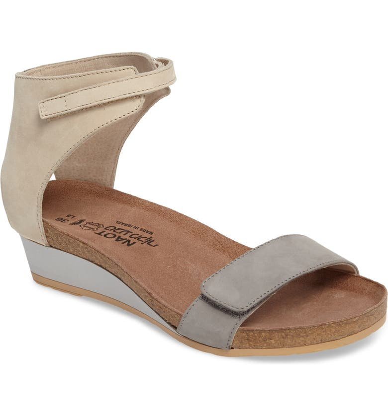 NAOT Prophecy Sandal, Main, color, GREY/ SILVER NUBUCK LEATHER