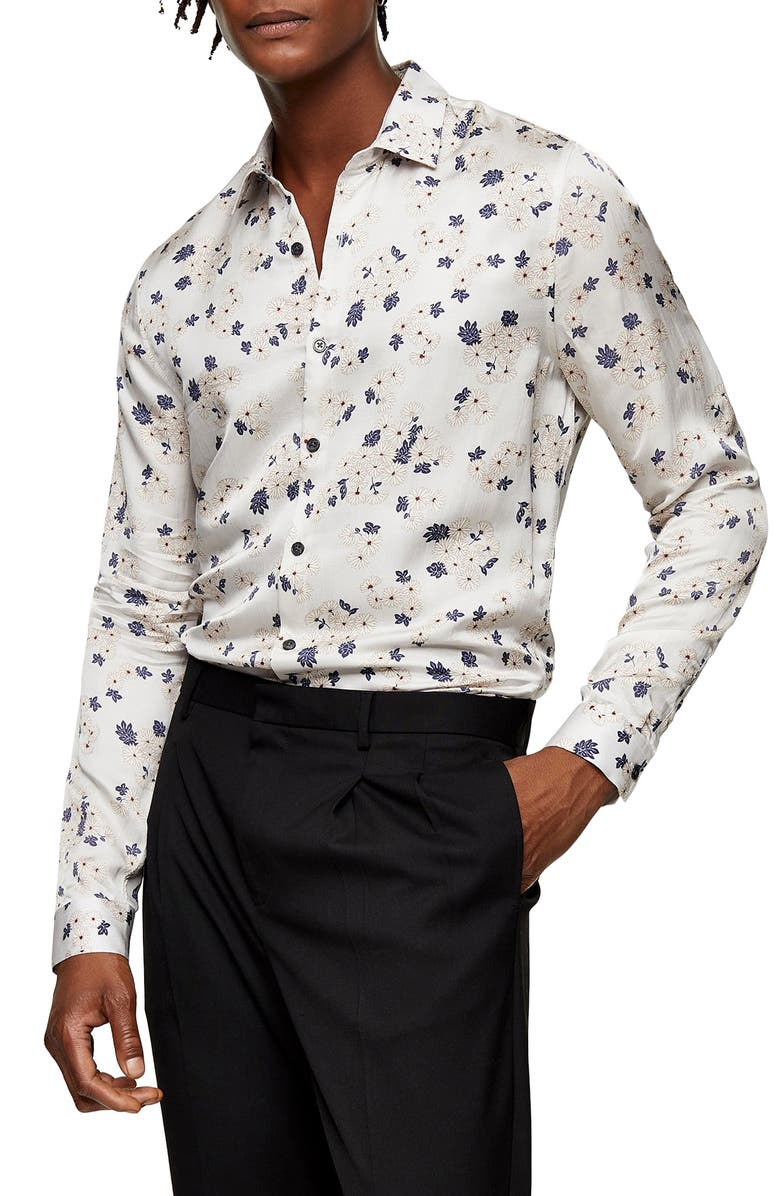 TOPMAN Floral Print Slim Shirt, Main, color, GREY MULTI