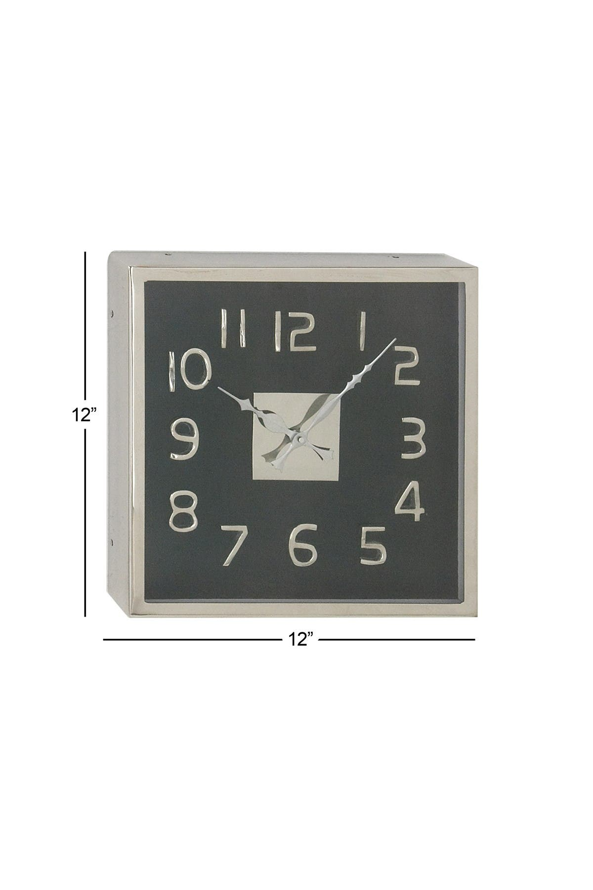 """Image of Willow Row Modern 12"""" X 12"""" Square Black Wall Clock"""