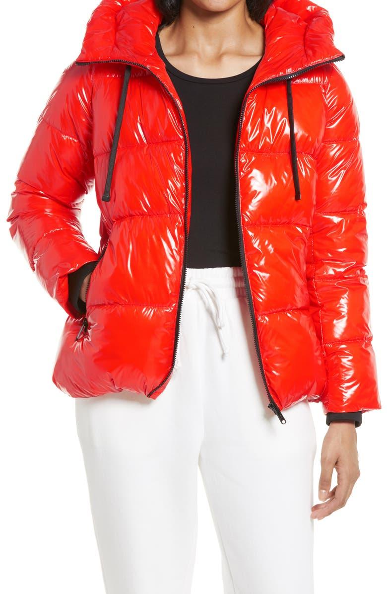 SAM EDELMAN Water Repellent Puffer Jacket, Main, color, BRIGHT PAPAYA