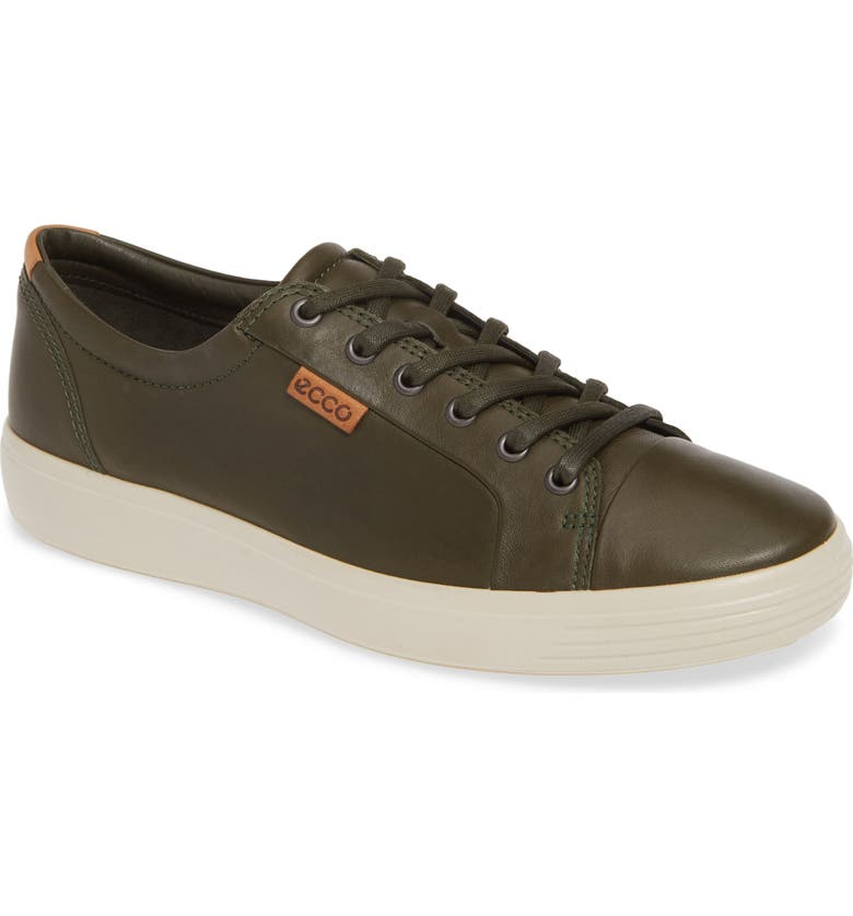 ECCO Soft VII Lace-Up Sneaker, Main, color, DEEP FOREST LEATHER