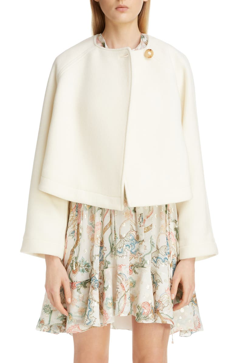 CHLOÉ Wool Blend Short Swing Coat, Main, color, WHISPER WHITE