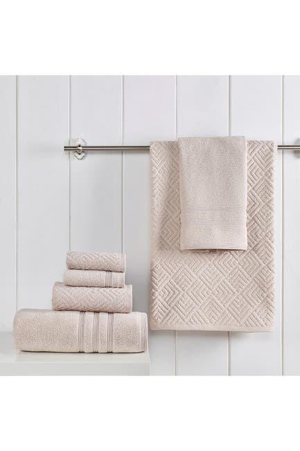 Image of Modern Threads Jacquard Turkish Made 6-Piece Towel Set - Tan