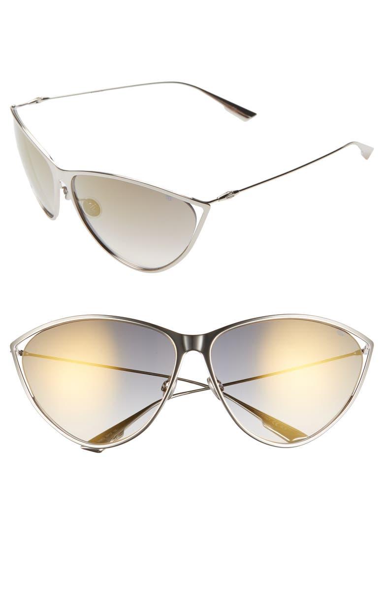 DIOR Newmotards 65mm Oversize Cat Eye Sunglasses, Main, color, PALLADIUM/ GOLD